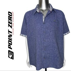 Men's Linen Cotton Short Sleeve Button Front Shirt